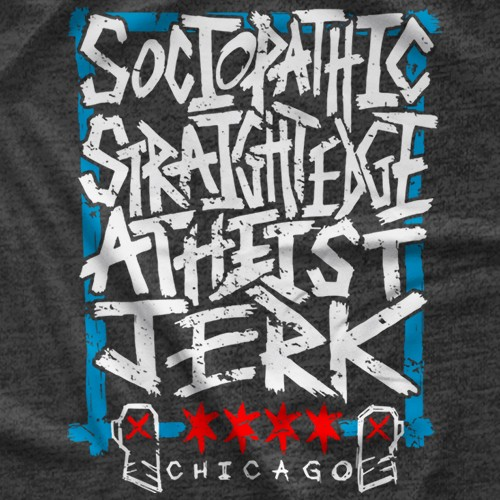 "- Clotheslined Apparel - Vintage Blend Soft T-shirt CM Punk ""Atheist Jerk"""