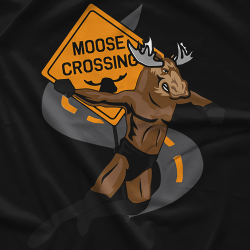 Moose Nation Moose Crossing Black T-shirt