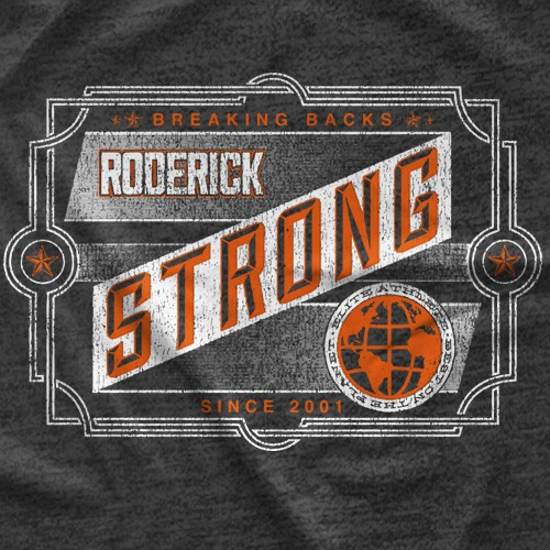 "- Clotheslined Apparel - Vintage Blend Soft T-shirt Roderick Strong ""Breaking Backs"""