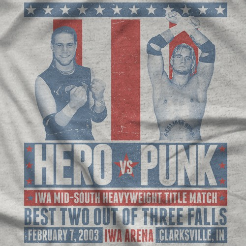 "- Clotheslined Apparel - Vintage Blend Soft T-shirt CM Punk ""When Hero Met Punk"""