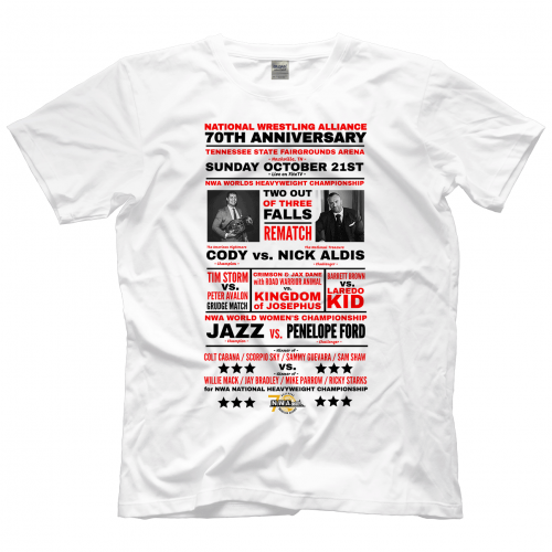 37b57bc7 National Wrestling Alliance NWA 70th Anniversary Card Shirt