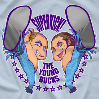 Young Bucks Cartoon Superkick T-shirt