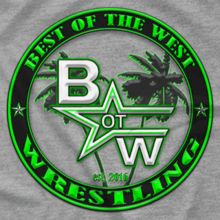 Best of the West Wrestling Palm Tree Tee Grey