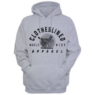 "- Clotheslined Apparel - Pull Over Hoodie Clotheslined ""Worldwide"""