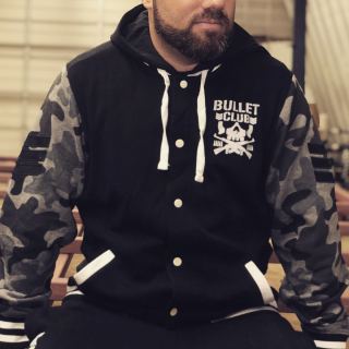 Bullet Club Bomber-Style Snap Raglan Camo Hoodie (Limited Edition)