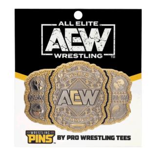 "AEW World Championship Wrestling Belt Pin (Oversized 2.75"" x 1.8"")"